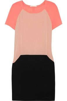 Maje | Armelle neon stretch-crepe, silk-georgette and jersey-crepe dress |  pinned with Bazaart