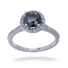 1.75 CT Black Diamond Engagement Ring 14K White Gold (Available In Sizes 5 - 10) $399.99