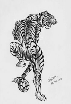 White tiger traditional tattoo