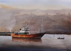 - Watercolor Painting by Jan Min - Watercolor Illustration, Watercolor Paintings, My Favourite Subject, World Water, 65 Years Old, The Spectator, Fishing Boats, Artist At Work, Online Art Gallery
