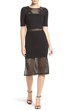 Free shipping and returns on French Connection 'Floral Cage' Mixed Media Sheath Dress at Nordstrom.com. Peekaboo mesh panels overlaid with floral embroidery break up this metropolitan statement dress.