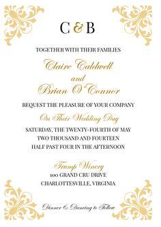 Classic Printable Wedding Invitation Set- $25.00