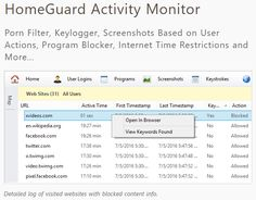 HomeGuard is an advanced parental control and activity monitoring tool for family and child safety online and offline. See https://www.facebook.  Once installed HomeGuard will silently and automatically block all pornographic and inappropriate content online and record detailed website activity including time of visit and time spent on each website. Plus a built in keylogger, activity based screenshots, chat and email monitoring and filtering, program/games blocking and time restrictions…