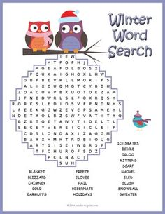 Winter Word Search - A word search puzzle featuring winter vocabulary words… Winter Activities For Kids, Winter Crafts For Kids, Winter Kids, September Activities, Weather Activities, Spring Activities, Word Puzzles For Kids, Worksheets For Kids, Weather Worksheets