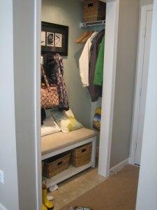 Mini mud room in a closet