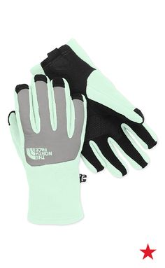 The North Face Denali Etip Glove Girls' Surf Green/Metallic Silver Small. Tech-savvy high-loft fleece glove delivers warmth in cool conditions. UR® Powered fleece at palm for five-finger touchscreen capability. PU tab at cuff for easy on/off. Winter Accessories, Girls Accessories, North Face Girls, The North Face, Fleece Gloves, Girl Beanie, Shop Till You Drop, Athletic Outfits, Girls Shopping