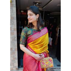 Shruti in a hand painted Kalamkari blouse on tussar silk Pattu Saree Blouse Designs, Fancy Blouse Designs, Bridal Blouse Designs, Kalamkari Designs, Ganesha, Stylish Blouse Design, Mysore Silk Saree, Indian Silk Sarees, Tussar Silk Saree