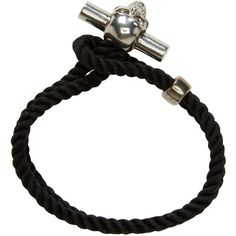 Alexander McQueen Black Skull Rope Bracelet ($110) ❤ liked on Polyvore featuring men's fashion, men's jewelry, men's bracelets, mens rope bracelets and mens skull bracelets