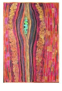 """color genius in textile artist Karen Kametzky. Potential II. 2004. 21.5""""w x 31""""h    Hand dyed cotton and cheesecloth,yarn    Machine pieced and quilted"""