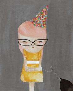 girl glasses party-party guest print by Pretty Little Thieves Originally pinned by Damaris onto Art-Illustration-posters-prints