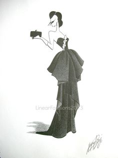 Beverly Hills fashion illustration old Hollywood by LinearFashions, $52.00.