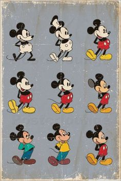 Buy Disney Mickey Mouse Evolution Wall Poster online and save! Disney Mickey Mouse Evolution Maxi Poster One of the cheekiest mice to grace both the small screen and the silver screen, Mickey has continued to app. Disney Pixar, Disney Films, Disney Animation, Disney Vintage, Retro Disney, Vintage Mickey Mouse, Mickey Mouse Art, Mickey Mouse Quotes, Minnie Mouse