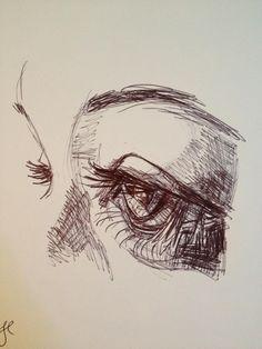 Tori's Eye Pen on paper KManningArt