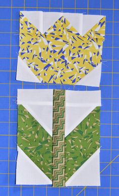 9. Sew the leaf/stem unit to the bottom of a tulip. Repeat to make three additional tulips and leaf/stem units.