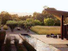 Landscape Architect Andrea Cochran Created A Sumptuously Restrained Outdoor Space At Stone Edge Farm In Sonoma. The Water Feature Leading To The Tree-Shrouded Table Is Beautiful. Get familiar with Cochran's Designs At Garden Design. Modern Landscape Design, Modern Landscaping, Contemporary Landscape, Landscaping Tips, Landscape Architecture, Garden Landscaping, Architecture Design, Landscape Borders, Creative Landscape