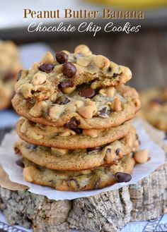 These easy Peanut Butter Banana Chocolate Chip Cookies are the perfect way to use up ripe bananas! Super soft and absolutely amazing!