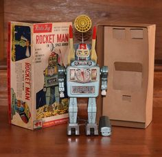 Alps Rocket Man in Space Armour. Battery Op toy 60s/ebay
