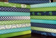 LAST ONE Simply Style Fat Quarter Bundle of 17 in Teal, Green and Blue by V & Co for Moda