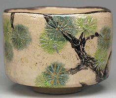 Raku-yaki Tea Bowl With Karamatsu Design - Japanese Tea Mart Rikyu Raku Pottery, Pottery Sculpture, Pottery Bowls, Thrown Pottery, Pottery Wheel, Slab Pottery, Ceramic Decor, Ceramic Mugs, Ceramic Bowls
