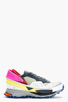 RAF SIMONS // GREY & PINK RUBBER-TRIMMED ADIDAS EDITION SNEAKERS