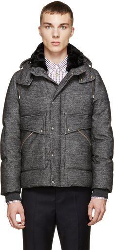 Moncler Gamme Bleu - Grey Hooded Down Jacket