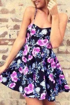 Navy Spaghetti Strap Lace Back Floral Dress -SheIn(Sheinside)
