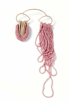 Iris Eichenberg - 'traenenmeer' brooch - 'pink years later' - copper plated silver, beads, nylon