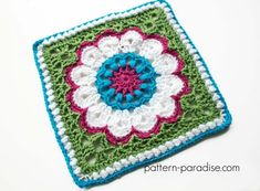 "Crochet pattern for crochet square, afghan square, 12"" square, blanket, afghan, throw, by Pattern-Paradise.com #crochet #freepattern #patternparadisecrochet"
