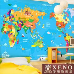 The large mural wallpaper of children's bedroom background wall cartoon wallpaper map of the world Loja Online