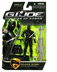 """G.I. Joe The Rise of Cobra 3 3/4"""" Action Figure Snake Eyes Ninja Commando by HASBRO. $10.50. One of the most popular figures among collectors. For ages four and up. Build your army of Cobras. Highly detailed and realistic. Snake Eyes is a member of the G.I. Joe team. Help protect the world from the evil Cobra with GI Joe Snake Eyes!"""