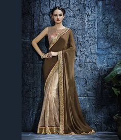 Brown Satin Half and Half Saree With Blouse 68009