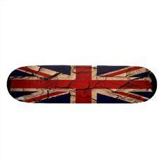 Distressed look Union Jack flag skateboard deck