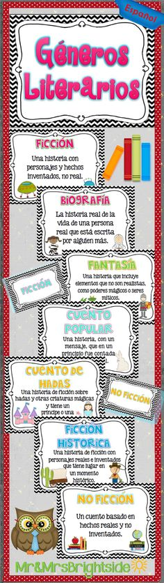 Generos Literarios - reading genres in Spanish posters. Includes : no ficcion…