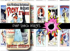 """French Theater Posters Domino Collage Sheet  Printable by popstock - $2.50  This printable domino collage sheet features vintage French theater and event posters. The images were brightened and retouched, then sized to 1.06"""" x 2.06"""" for each tile."""