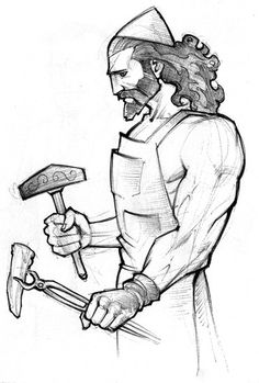 Hephaestus- God of forges, fire, blacksmiths, and ironwork. Husband of Aphrodite and son of Hera and Zeus. Vulcan is the Roman version of Hephaestus.