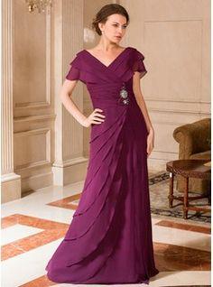 A-Line/Princess V-neck Floor-Length Chiffon Mother of the Bride Dress With Ruffle Beading (008024443) - JJsHouse