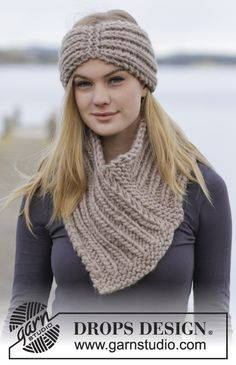 Lovely set consisting of a #knit head band and neck warmer with rib by #DROPSDesign