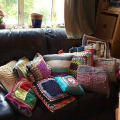 A dozen crocheted or woven panels with fabric backing on some make cushion gifts for a wonderful team at work. Hope they like then!