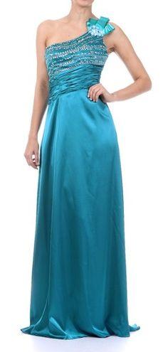 Teal Sexy Prom Dress Sequin One Shoulder Flower Ruched Waist Satin $178.99