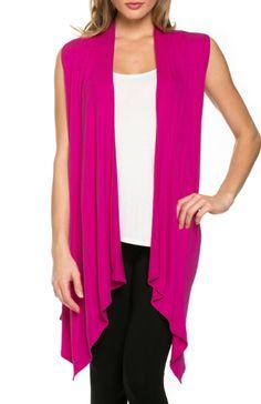 Draped Open Front Jersey Knit Vest