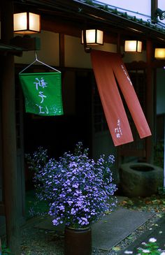Noren 暖簾 - Noren are traditional Japanese fabric dividers, hung between rooms, on walls, in doorways, or in windows. Commonly, noren have one or more vertical slits cut from the bottom to nearly the top of the fabric, allowing for easier passage or viewing.