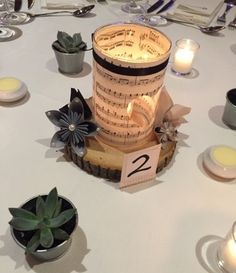 DIY music note centerpieces