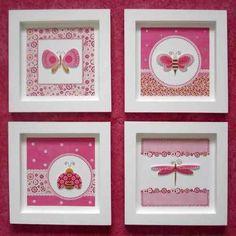 cuadritos de nena Nursery Art, Girl Nursery, Picture Boxes, Kids Room Art, Country Art, Baby Art, Button Art, Box Frames, Creative Crafts