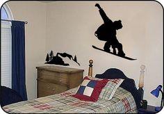 Large SNOWBOARDING Vinyl Wall Decals Stickers on Burton snowboard   TouchofVinyl - Housewares on ArtFire