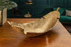 Dizajnová miska zlatá 62cm. Shelf Arrangement, Gold Leaf, Decoration, Teak, Decorative Bowls, Leaves, Elegant, Tabletop, Comme