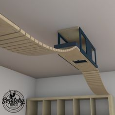 ScratchyThings shared a new photo on Etsy - Cat furniture, scratchers, wall shelves, walkways Cat Wall Shelves, Cat Gym, Cat Steps, Diy Cat Tree, Cat Activity, Cat Perch, Cat Playground, Cat Climbing, Pet Furniture