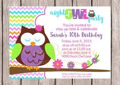PRINTABLE Night Owl Birthday Party Invitation / Sleepover or Slumber Party Invitation with Owl / You Print