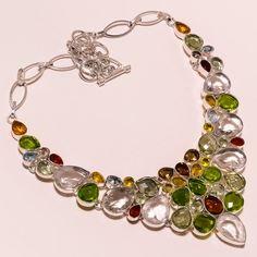 925 Sterling silver crystal+peridot+smoky quartz+citrine+bt  Necklace f70 83gm #Handmade #Necklace