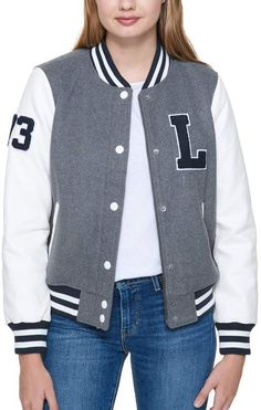Reinvent your look with the preppy style of this women's Levi's varsity jacket. In gray, white. Varsity Jacket Outfit, Bomber Jacket, Cute Jackets, Jackets For Women, Senior Jackets, Leather Varsity Jackets, Preppy Style, Fashion Outfits, Leather Sleeves