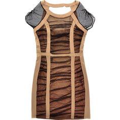 CARLOS MIELE Mesh Nude Black Dress found on Polyvore